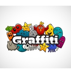 Graffiti Characters Composition Flat Concept vector