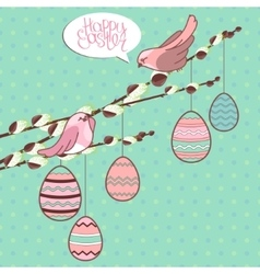 Greeting card with phrase Happy easter and eggs vector image