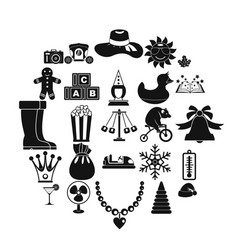 guys icons set simple style vector image