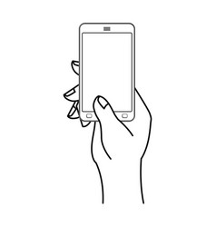 hand and mobile phone man is holding smartphone vector image