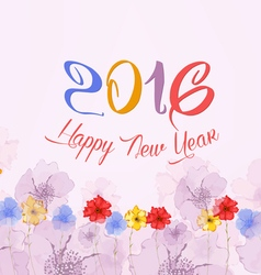 Happy new year 2016 Watercolor Colorful Poppies vector image