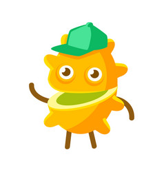 happy smiling passion fruit in a green cap vector image