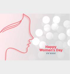 happy womens day beautiful bokeh card design vector image