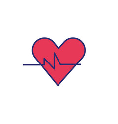 Heart cardio with pulse icon vector
