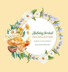 Herbal tea wreath design with flowers tea pot vector