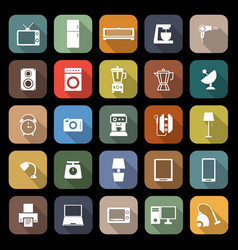 Household flat icons with long shadow vector