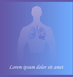 Human lungs in man silhouette vector