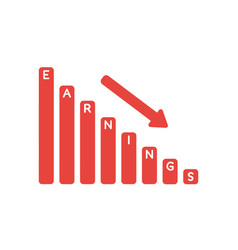icon concept of earnings sales bar graph moving vector image