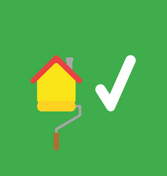 icon concept of house painting with paint roller vector image