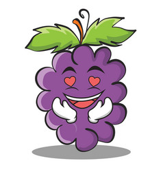 in love grape character cartoon collection vector image