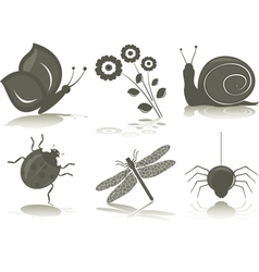 isolated icons of insects vector image