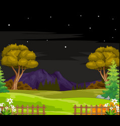 Landscape grass field night view cartoon isolated vector