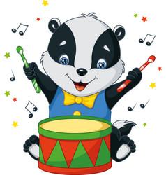 Little badger drummer vector