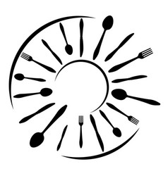 logo a cafe or restaurant made forks spoons vector image