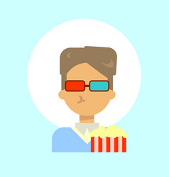 Male wearing 3d glasses with popcorn emotion vector