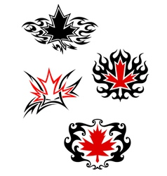 Maple leaf mascots vector image