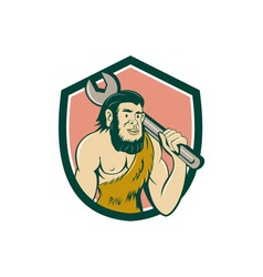 Neanderthal CaveMan With Spanner Crest Cartoon vector