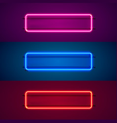 Neon frame sign in shape a square vector