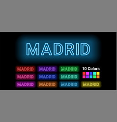 Neon name of madrid city vector