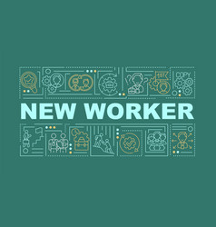 New worker green word concepts banner vector