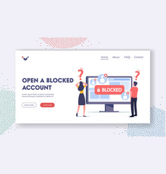 Open blocked account landing page template tiny vector