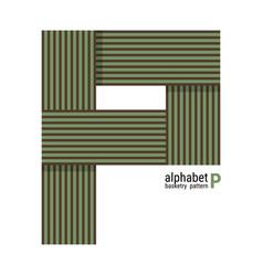 P - unique alphabet design with basketry pattern vector