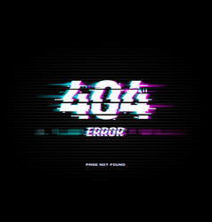 page not found 404 error glitched screen vector image