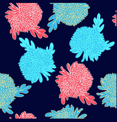pattern with hand drawn chrysanthemums flowers vector image