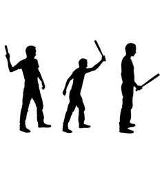 People silhouettes hitting with bat vector