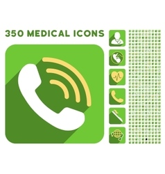 Phone Call Icon and Medical Longshadow Icon Set vector