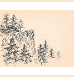 Pine forest in the mountains vector