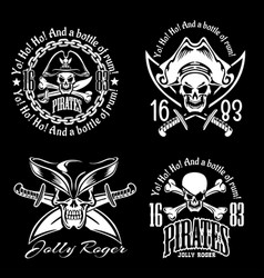 Pirates emblem set with pirate spirit flying dutch vector