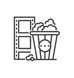 popcorn - line design single isolated icon vector image