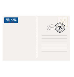 Postcard back side with mail stamp vector