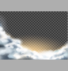 Realistic clouds with glowing from sun vector