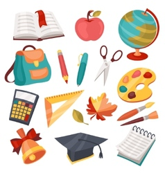 School and education icons symbols objects set vector image