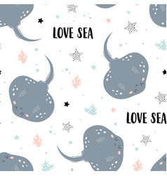 Seamless pattern with stingray isolated on white vector