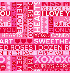 seamless valentines day typography pattern vector image