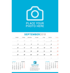 September 2018 wall monthly calendar for 2018 vector