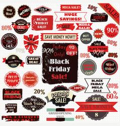 set black friday labels and ribbons design set vector image