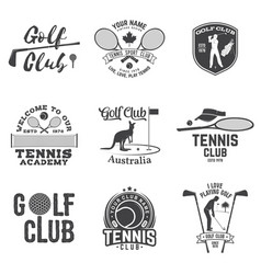 set golf club tennis club concept vector image