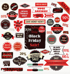 set of black friday labels and ribbons design vector image