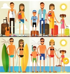 set of characters in a flat style vector image