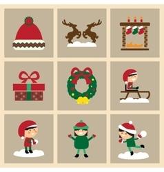 Set of flat icons on stylish background Christmas vector