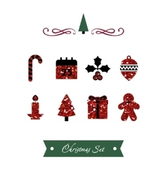 Set of Red Shiny Christmas Icons vector image