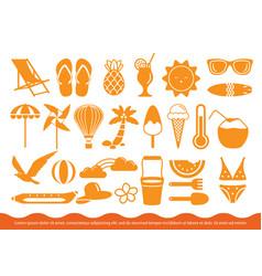 Set summer icon vector