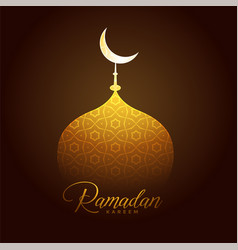 shiny golden mosque top for ramadan kareem vector image
