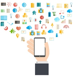 Smart phone and cloud technology vector