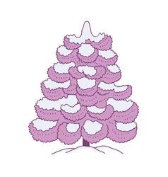 Snowy fir-tree for winter vector