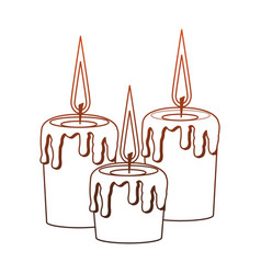 Spa candles isolated red lines vector